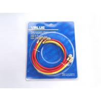 Набор шланг заправочных для фреона Value VPR-U-R22-RYB 0,9 м 1/4-1/4 (500-2500 PSI)